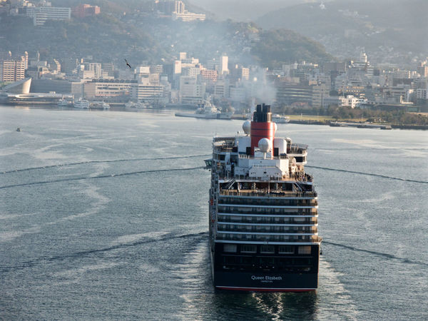 Port call schedule Cunard Cruise Ship Queen Elizabeth  2nd visit 17th MARCH 2016. 7:00 a.m( Japan standard time ) Matsugae International Terminal, Nagasaki . take a photo 21th March 2014 V-LUX1 RAW > JPEG, Photos(iMac) edit de Good afternoon Cruise Days On The Bridge Megami Ohashi Nagasaki JAPAN
