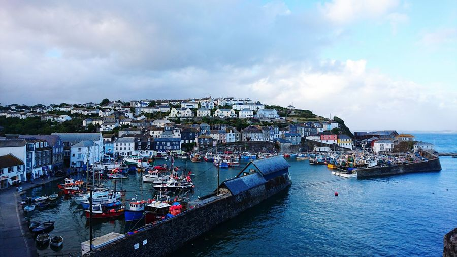 Mevagissey Harbour Mevagissey Boats Harbour Landscape Landscape_photography Cornwall Uk Hillside Houses Perspective Day Blue High Angle View Skyline Sky And Clouds