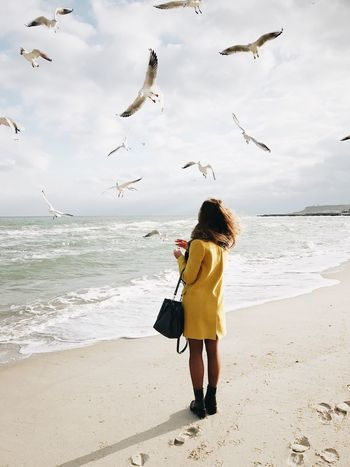 Full Length Sea Beach Horizon Over Water One Person Sky Water October Odessagram Lifestyles Odessa,Ukraine VSCO Vscoukraine Vscoodessa Vscouk Odessa Vscocam Long Hair Girl