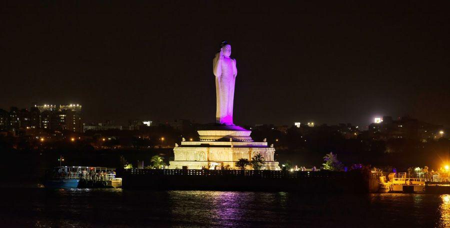 Location : Tankbund, Hyderabad Night Illuminated Tourism City Monument No People Cityscape Water Travel