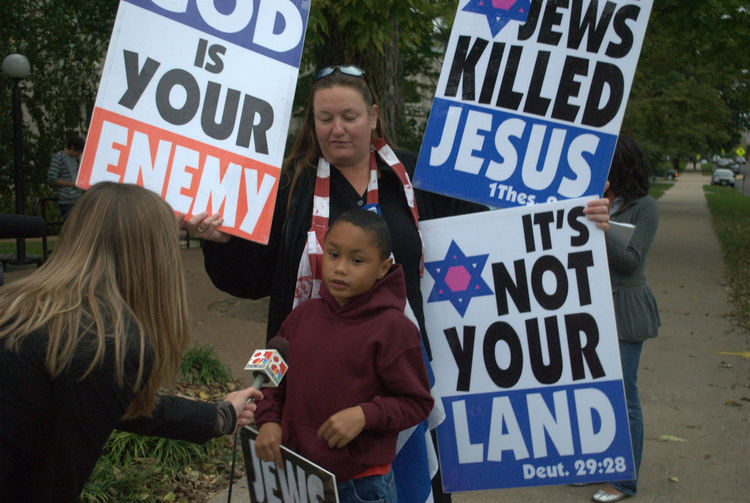 Child protester at the University of Missouri Campus during a Westboro Protest Antisemitism Children Contraversial  Interview Journalism Lifestyles Westboro WestboroBaptistChurch