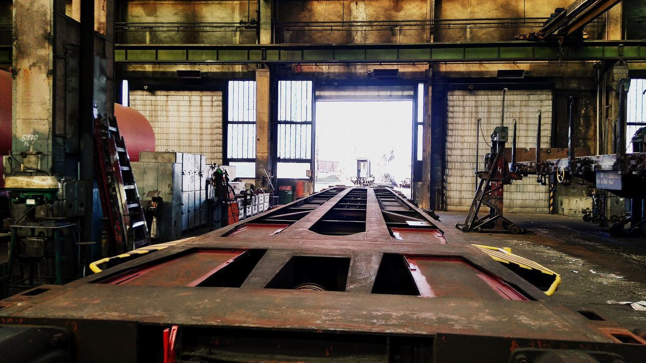 indoors, industry, wood - material, workshop, factory, work tool, construction site, building - activity, day, architecture, built structure, technology, girder, no people, manufacturing equipment, metal industry, close-up