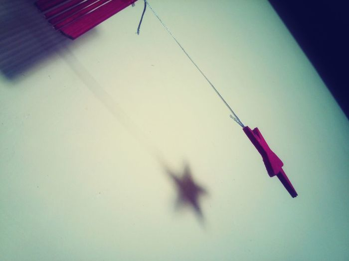Shadow Indoors  Red Color Hanging Star
