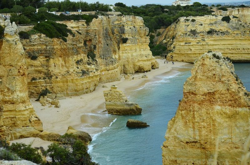 Beach Beachphotography Portugal Beach Praia Da Marinha Atlantic Ocean Algarve Waves Water Tree Sky Geology Rock Formation