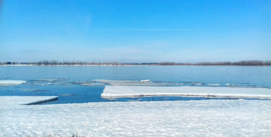 Blue Water Tranquility Nature Beauty In Nature Sky Tranquil Scene Day Clear Sky Scenics Cold Temperature Outdoors Lake No People Ice Horizon Over Water Samara Самара Волга Волга🌊 EyeEmNewHere
