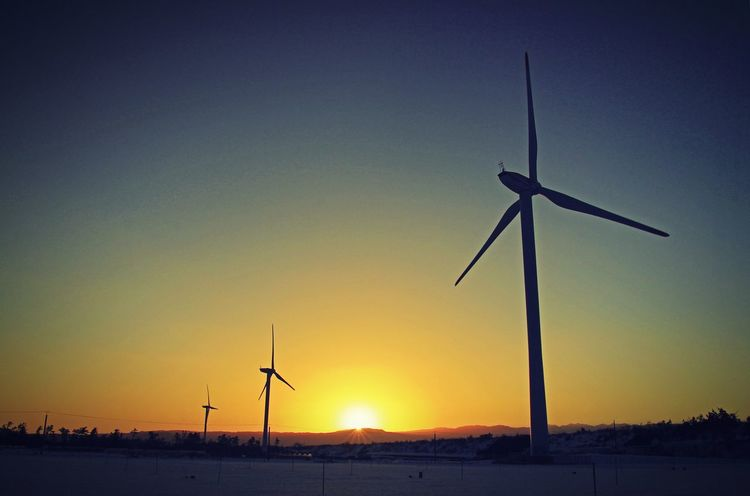 sunrise Silhouette Sky Environmental Conservation Nature Windmill Alternative Energy No People Wind Turbine Technology Outdoors Water Beauty In Nature Astronomy
