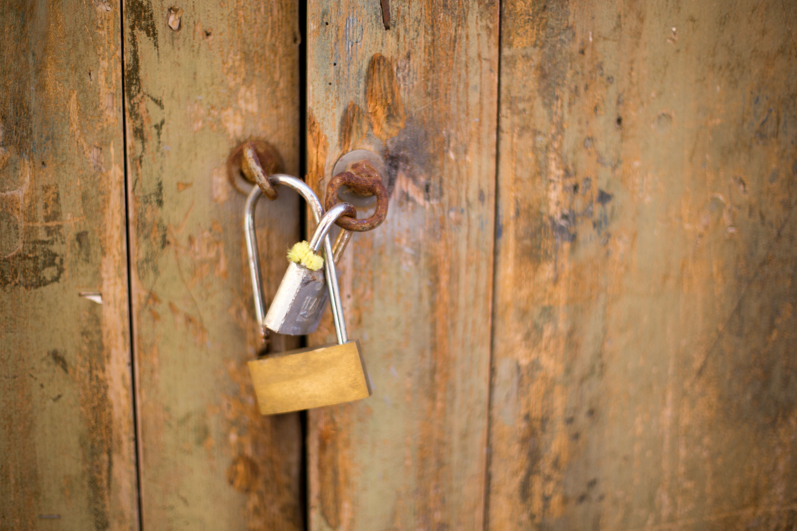 door, wood - material, metal, rusty, lock, no people, latch, protection, padlock, key, close-up, day, outdoors
