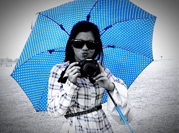 Color Blue but definitely not blue. Becauseiamhappy Show Me That Smile or a Smirk 😝 I love my Umbrella . Love Cameras ! Shot for the shots! That's Me ! 📷📷📷💝
