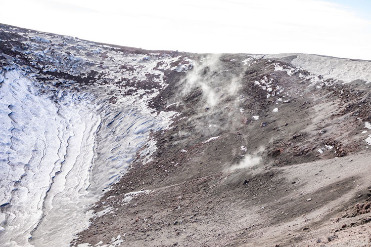 Etna Volcano Crater Mountain Winter Snow Sicily Italy Ash Beauty In Nature Scenics - Nature Nature Environment No People Day Power In Nature Non-urban Scene Outdoors Sky Power Landscape Water Motion Cold Temperature Tranquil Scene Rough Geology Formation Purity