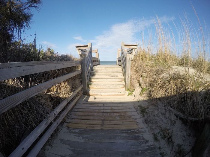 Nature The Way Forward Sky Nature Boardwalk Outdoors Sunlight Day Beach Sand Tranquility Wood - Material Wood Paneling Clear Sky Beauty In Nature Tranquil Scene No People Horizon Over Water Scenics Landscape Beachlife OBX Nags Head NC Gopro ☀️🌊🌾
