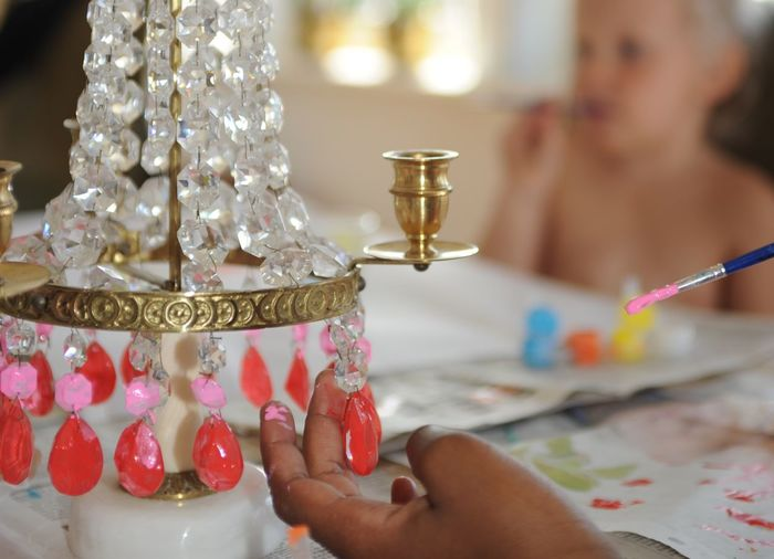 Cropped Hand Painting Crystal Decoration
