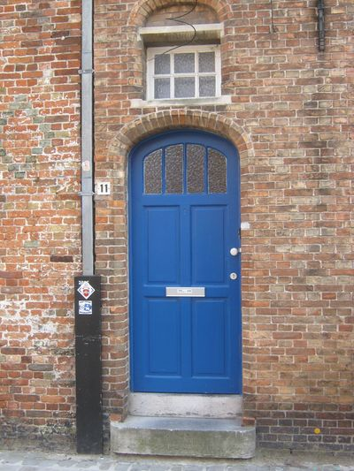 Architecture Blue Brick Wall Building Exterior Built Structure Close-up Closed Day Door Doorway Entrance Front Door House No People Outdoors Residential Building