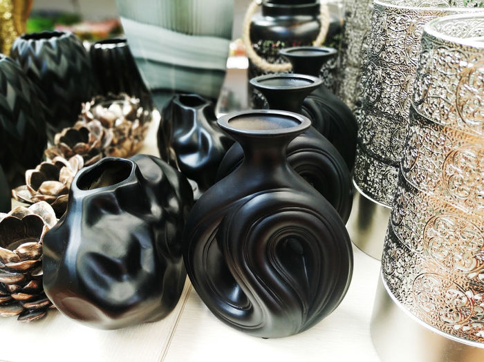 High angle view of bowls on table