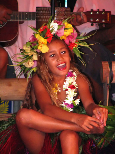 French Polynesian Touristic Cultural Show with local musicians and adult female dancers with family children- Island of Tahitti, French Polynesia Flower Necklace French Polynesia Tahiti ❤ Cheerful Close-up Day Flower Freshness Guitar Happiness Indoors  Laughing Girl Leisure Activity Lifestyles Looking At Camera One Person Portrait Real People Sitting Smiling Tahitian Dancers Young Adult Young Women