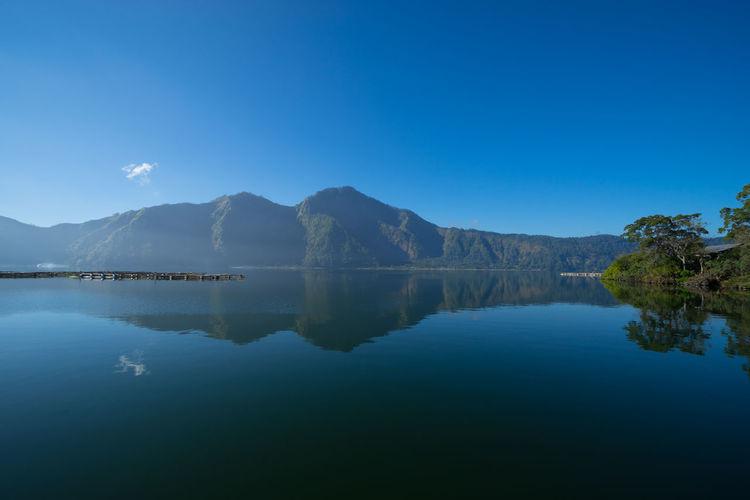 Scenic reflection of mountain range in lake