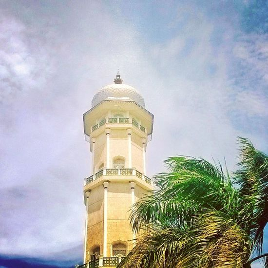 The tower which the adzan for prayer calling has sounded Baiturrahman Mosque Aceh INDONESIA holycenter Islam