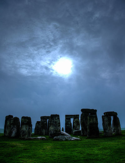 Stonehenge, World Heritage Moon World Heritage Ancient Civilization Beauty In Nature Cloud - Sky Day History Nature No People Outdoors Sky Stone Stonehenge Sun Weltkulturerbe