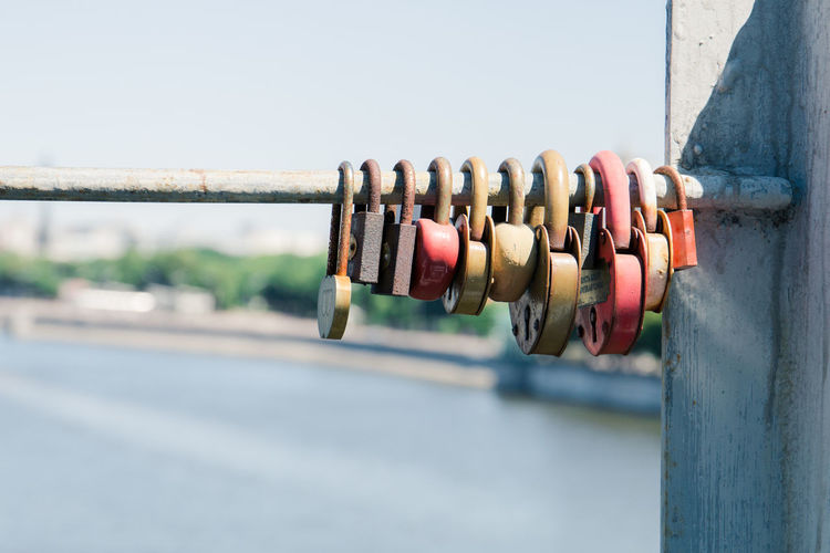 the locks of lovers Focus On Foreground Metal Close-up Day Lock Safety Security Protection Padlock Architecture Outdoors Railing No People Connection Clear Sky Built Structure Selective Focus Nature Sky In A Row Love Lock The Street Photographer - 2019 EyeEm Awards