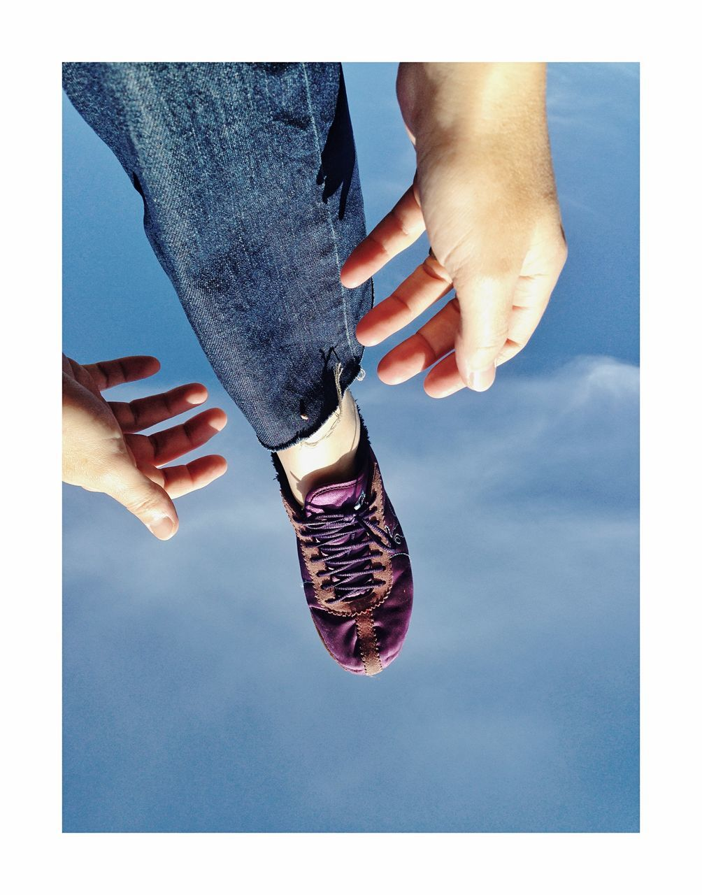 human body part, body part, real people, auto post production filter, transfer print, human hand, human leg, hand, low section, people, adult, men, lifestyles, women, blue, day, bonding, jeans, two people, human foot, human limb, finger