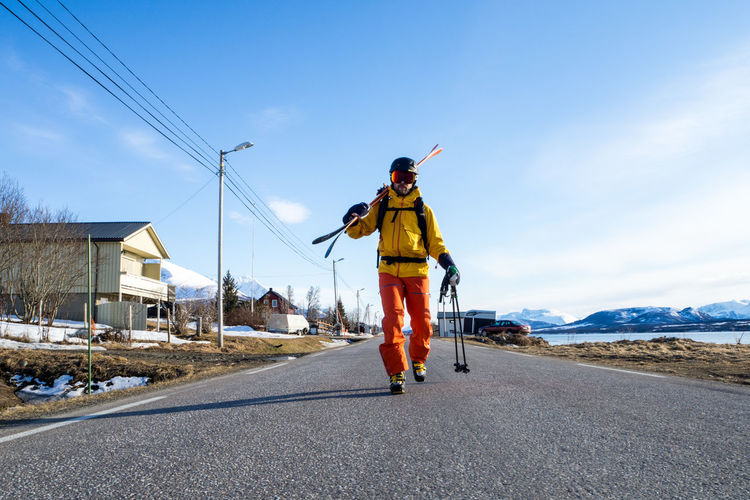 Ready for Skitouring Blue Casual Clothing Cloud Cloud - Sky Day Fjord Freeride Full Length Jumping Leisure Activity Lifestyles Lyngen Lyngen Alps Mid-air Norway Outdoors Road Ski Skiing Skitouring Sky The Way Forward