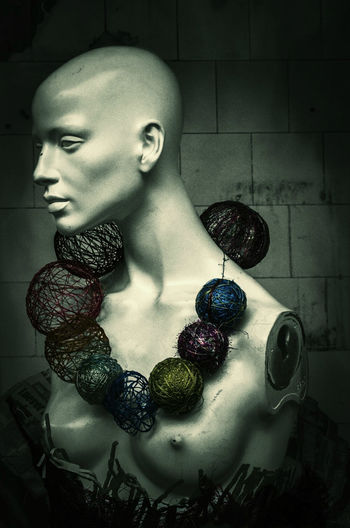 In the prop room of the theatre in the Govan Baths - lots of odd stuff in there. Art Backstage Bald Baubles Bust  Close-up Costume Decay Doll Female Figure Govan Baths Green Grungy Inanimate Mannequin Necklace Necklaces Scotland Still Life