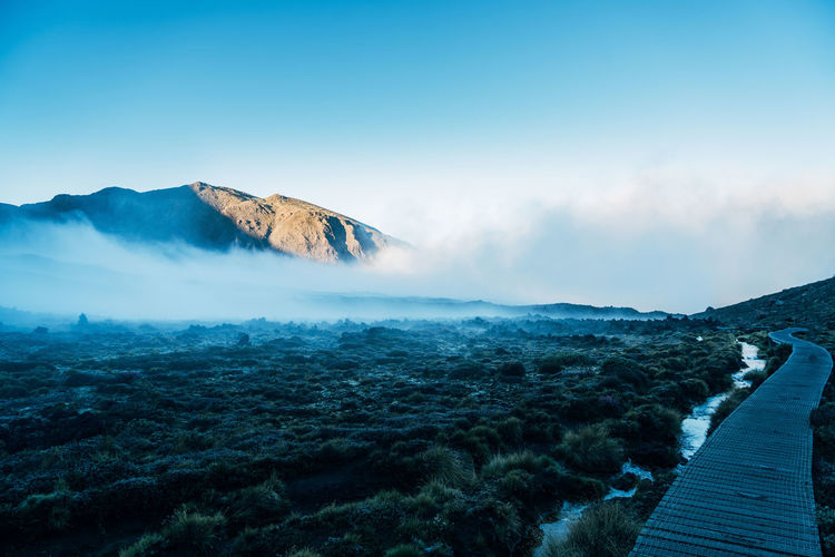 Empty boardwalk at tongariro national park