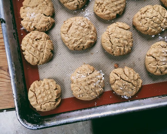 Peanut butter cookies Comfort Foods Homemade Party Celebration Winter Sweets Cookie Holidays Food Food And Drink Freshness Indoors  High Angle View Still Life No People Baked Sweet Food Cookie Close-up Preparation  Baking Sheet Temptation Table Dessert Dough