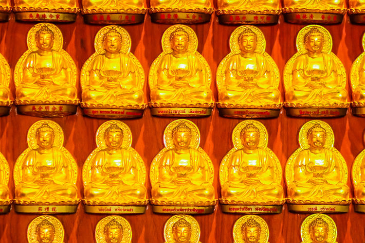Beautiful Rows Of Golden Buddha Statues, Buddha series on the walat Wat Leng Nei Yi 2 in Nonthaburi, Thailand Buddha Series Buddha Statue In Thai Buddha Statues Golden Buddha Head Golden Buddha Image Nonthaburi Rowing Rows Of Golden Buddha Wat Leng Noei Yi 2 Abstract Abstract Art Backgrounds Buddha Statue Buddha Statue Color Gold Buddha Statue Temple Buddha Statue Thailand Day Full Frame Gold Colored Golden Buddha Golden Buddha Statue Golden Buddhas Hanging Illuminated In A Row Indoors  Large Group Of Objects Lighting Equipment No People Red Row Rows Rows Of Things Statue