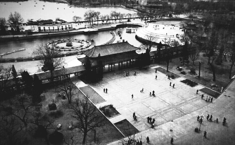 Black And White Black & White Black And White Photography Black And White Collection  Blackandwhite Photography Streetphotography Street Photography Streetphoto_bw High Angle View Look Down Ferris Wheel Landscape_Collection Landscape Tianjin China Park PhonePhotography Interesting Old Memory Winter Time Places I've Been Full Of People Lake