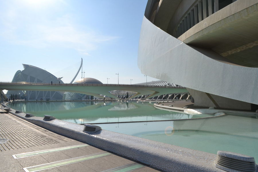 Architecture Architecture Bridge - Man Made Structure Building Exterior Built Structure Business Finance And Industry City Day Day Out Futurism Harbor Museodelasciencias No People Outdoors Point Of View Prospective Sky Spagna Travel Destinations Turismointoscana València Water