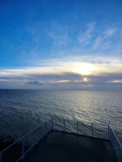 Sea Railing Sky Horizon Over Water Scenics Water Tranquility Nature Beauty In Nature Tranquil Scene No People Outdoors Day Railing Bridge - Man Made Structure Moment Lens Moment Wide Morning Sky Light And Shadow Netherlands Afsluitdijk IPhoneography Cloud - Sky