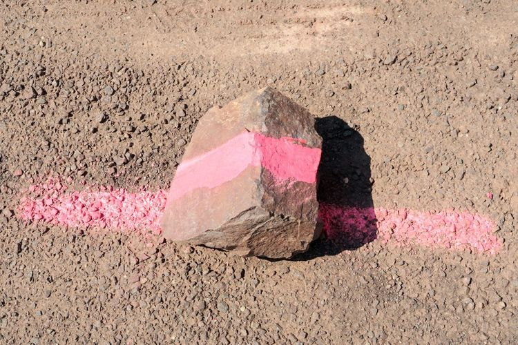 porphyry rock with a pink line. dont cross the line Quarry Natural Backgroud Rock Prophyry Border Border Crossing Pink Pink Color Dont Cross It