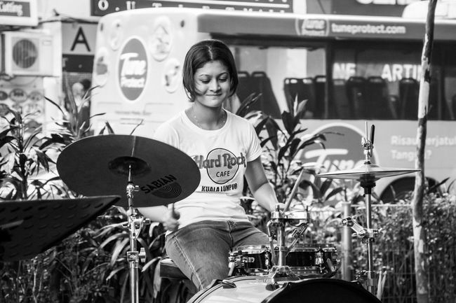 People City City Street Black And White Monochrome Photography Streetphotography Street Photography People And Places Blackandwhite Peoplephotography People Photography Leisure Activity Street Woman Drums