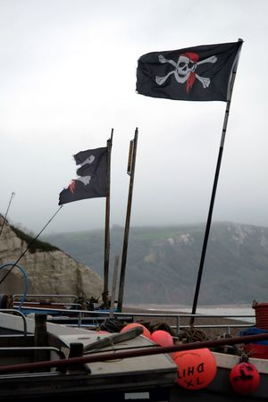 Flag Wind Waving Day Pride Red No People Outdoors Clear Sky Sky Nautical Vessel Nature Jolly Roger Pirate Devon UK