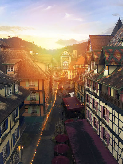 Town of Bukit Tinggi, Pahang, Malaysia Bukit Tinggi TOWNSCAPE Architecture Building Exterior Built Structure City Cityscape Day High Angle View House Malaysia Malaysia Scenery Mountain No People Outdoors Pahang Residential Building Sky Sunset Tourism Town Travel Destinations Visit