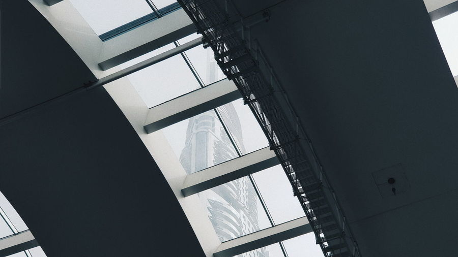 Architecture Built Structure Low Angle View Building No People Building Exterior Day Sky Outdoors Glass - Material Window Nature Industry Metal Ceiling Transparent Modern Pattern Staircase Skylight