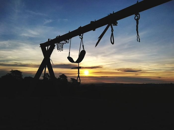 Sunset Silhouette Hanging Sky Cloud - Sky Scenics Remote Chain Swing Playground Outdoor Play Equipment Rope Swing Sky Only