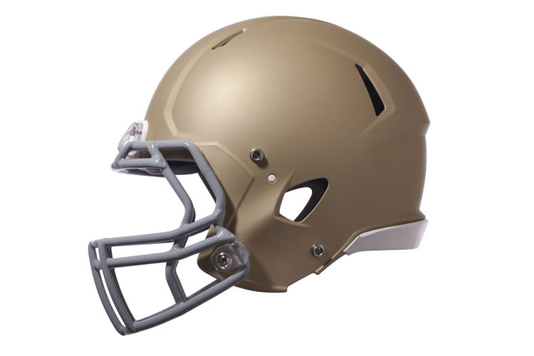 Modern football helmet in gold isolated on a white background Helmet Football Modern Gold Isolated Facemask Profile Side View Protection Headgear Equipment Sports American Football Gray Color Image Photography No People White Background Gear Professional Style Cut Out Single Object