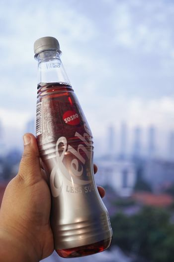 Close-up of hand holding bottle against sky