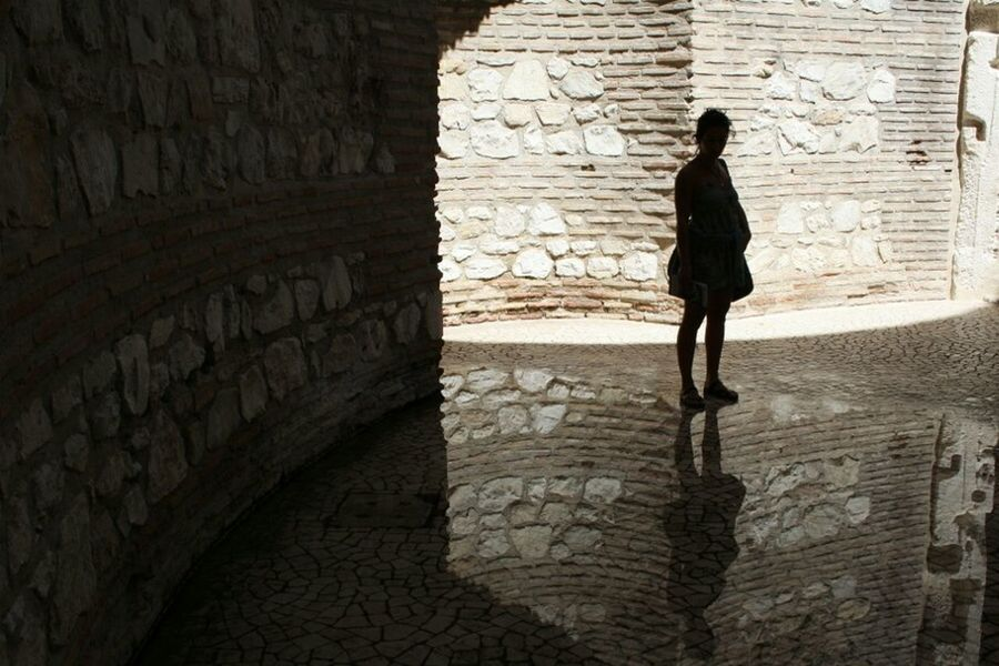 Walking Architecture Reflection Croatia Adults OnlySpalato Day Woman Water Reflections Summer Italiangirl Reflex Canon Point Of View One Person Walking Shadow One Woman Only Standing City Women Adult Silhouette People Only Women
