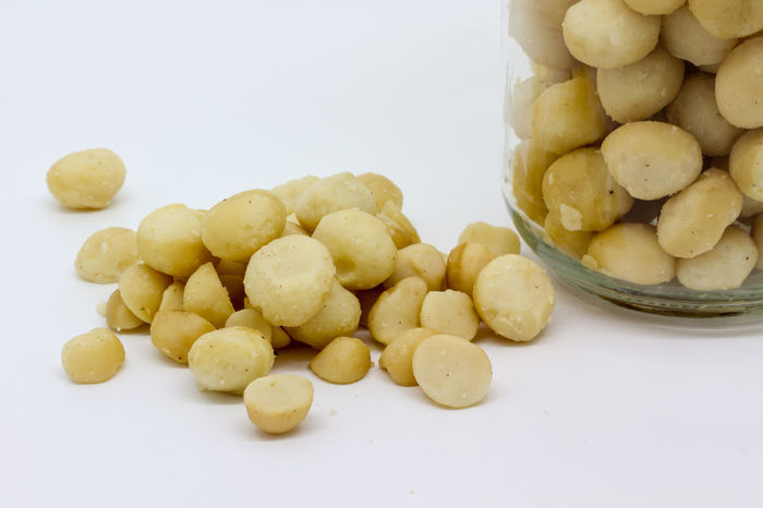 Macadamia Nuts Abundance Close-up Cooking Food Freshness Large Group Of Objects Macadamia Macadamia Nuts No People Nuts Organic Part Of Still Life Storage Jar Studio Shot White Background