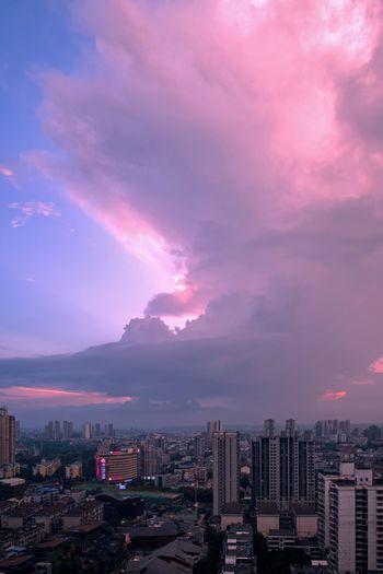 City Modern Pink Color Cloud - Sky Storm Cloud Sky