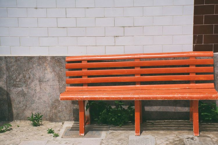 Absence Brick Wall Chair Closed Day Empty Furniture No People Outdoors Red Repetition Seat Side By Side