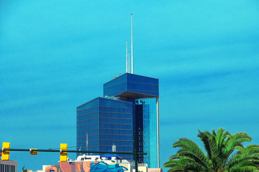 Built Structure Architecture Building Exterior Sky Tower Palm Tree Building Blue City Office Building Exterior Tropical Climate Tall - High Tree Low Angle View Skyscraper Spire  Turquoise Colored Morocco MoroccoTrip Rabat Rabat Morocco Hay Riad
