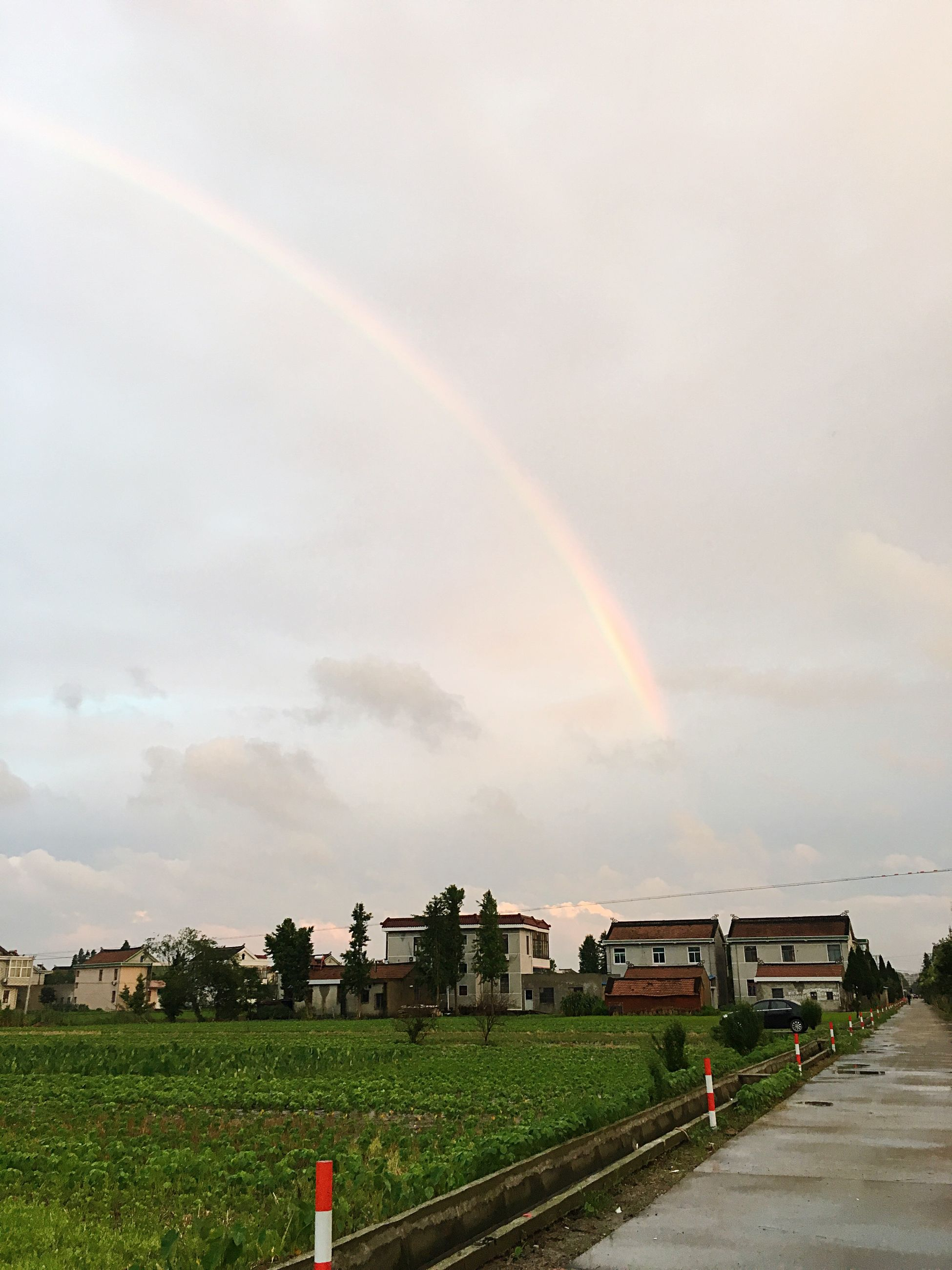 sky, building exterior, architecture, rainbow, built structure, grass, cloud - sky, landscape, field, house, cloudy, multi colored, nature, cloud, beauty in nature, tree, scenics, rural scene, green color, weather
