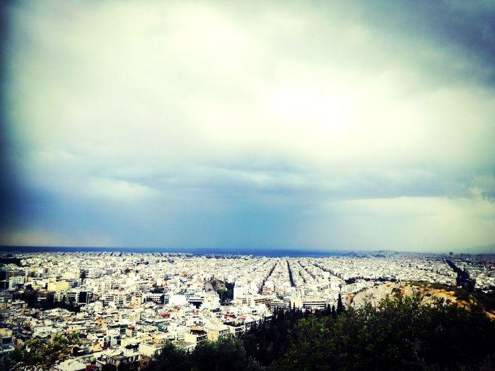 Blue Silence Buildings Athens Filopapou Water Sea Sky Horizon Over Water Landscape Cloud - Sky Sky Only