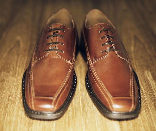 Men's brown leather shoes. Shoe Leather Brown Indoors  Pair Shoelace Shoes Paint the Town Yellow Men's Track