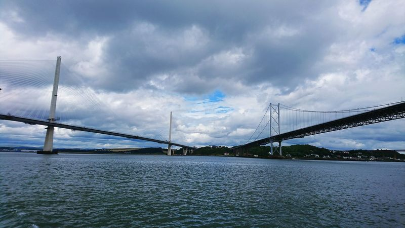 Connection Bridge - Man Made Structure Cloud - Sky Suspension Bridge Technology Architecture Built Structure Steel Outdoors Sony Experia Xz Forth Road Bridge Queensferry Crossing Queensferry Bridge Connected By Travel