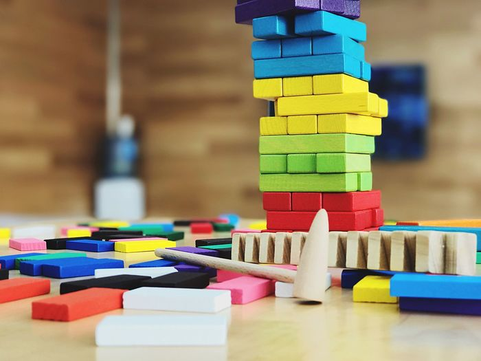 Close-Up Of Colorful Toy Blocks On Table