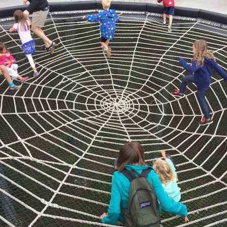 Children Adirondack Mountains Web Ropes Fun High Angle View Child Togetherness Childhood Medium Group Of People Outdoors People Watching Day Audience Adult